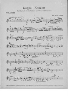 Double Concerto for Clarinet and Viola in E Minor, Op.88: parte do violino by Max Bruch