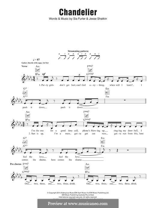 Chandelier (Sia): melodia by Sia Furler, Jesse Shatkin