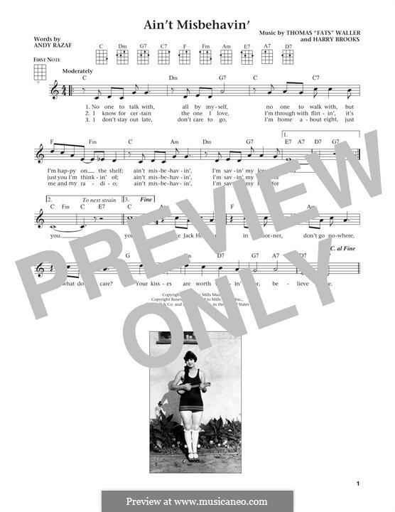 Ain't Misbehavin': para ukulele by Fats Waller, Harry Brooks