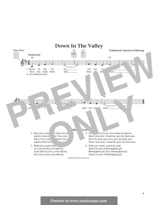 Down in the Valley: para ukulele by folklore
