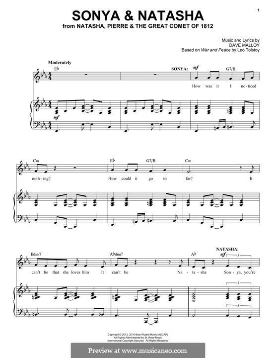 Sonya & Natasha (Josh Groban): Para vocais e piano by David Malloy