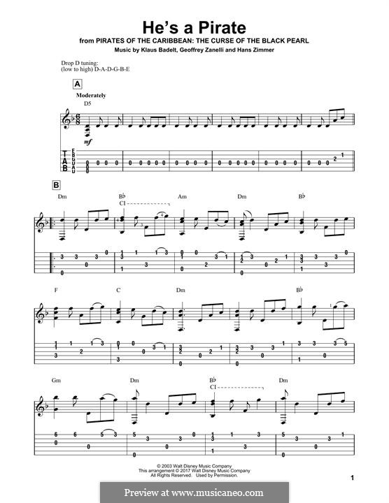 He's a Pirate (from Pirates of the Caribbean: The Curse of the Black Pearl): Para guitarra com guia by Klaus Badelt