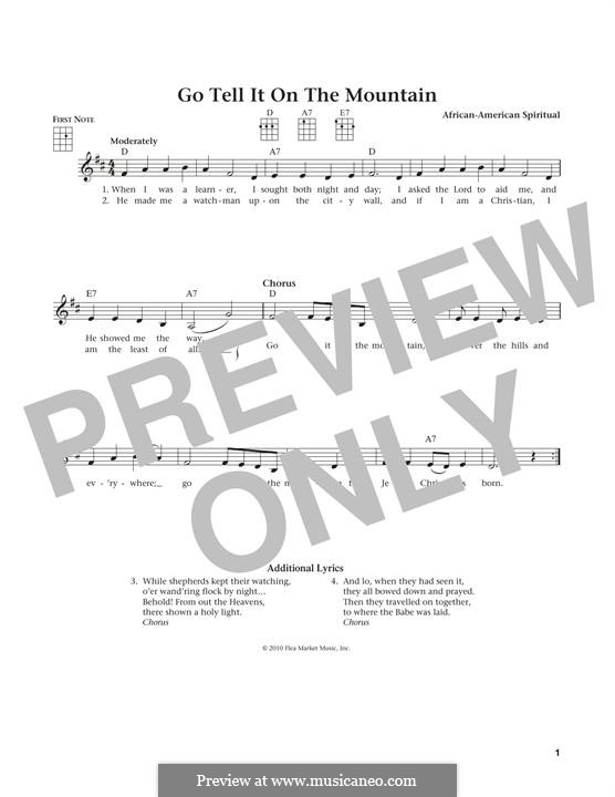 Go, Tell it on the Mountain (Printable Scores): para ukulele by folklore