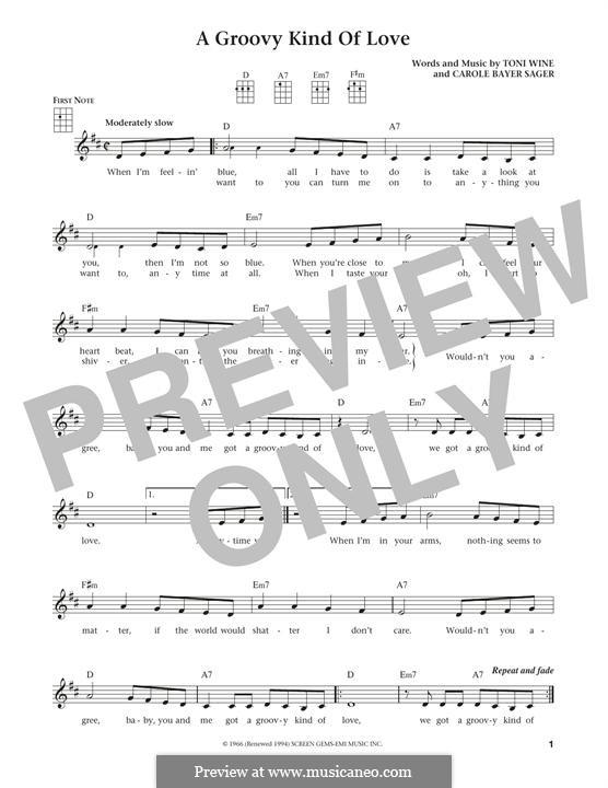 A Groovy Kind of Love (The Mindbenders): para ukulele by Carole Bayer Sager, Toni Wine
