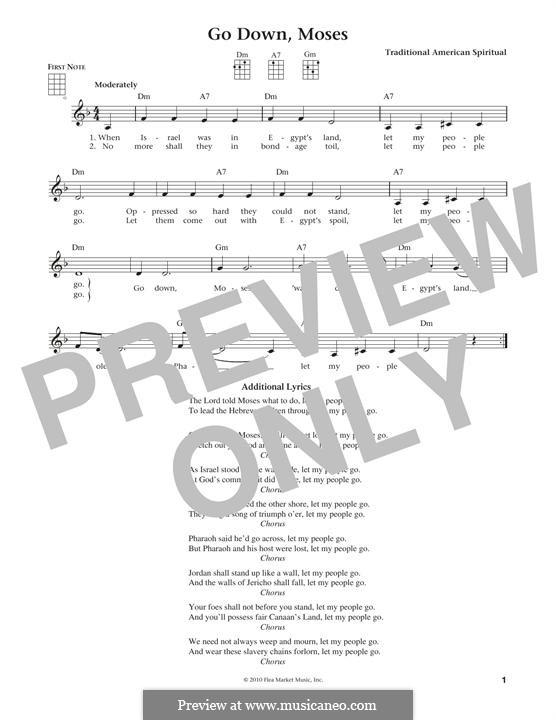 Go Down Moses: para ukulele by folklore