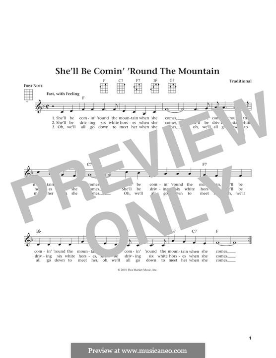 She'll Be Comin' 'Round the Mountain: para ukulele by folklore