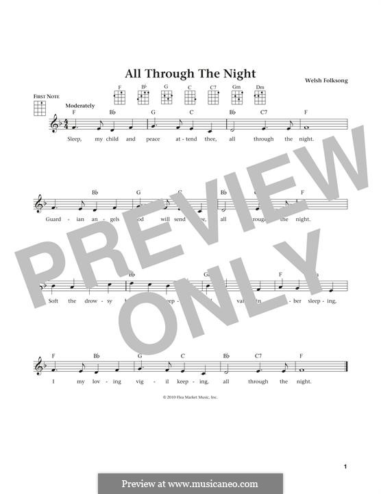 All Through the Night: para ukulele by folklore