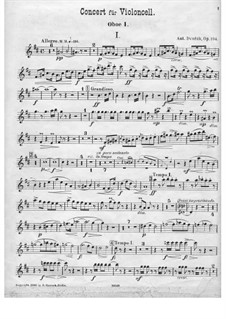 Concerto for Cello and Orchestra in B Minor, B.191 Op.104: Oboe parte I by Antonín Dvořák
