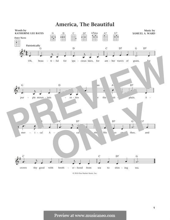America the Beautiful: para ukulele by Samuel Augustus Ward