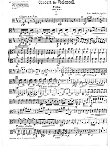 Concerto for Cello and Orchestra in B Minor, B.191 Op.104: parte viola by Antonín Dvořák