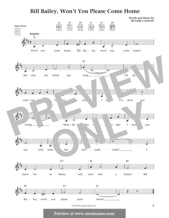 Bill Bailey, Won't You Please Come Home: para ukulele by Hughie Cannon