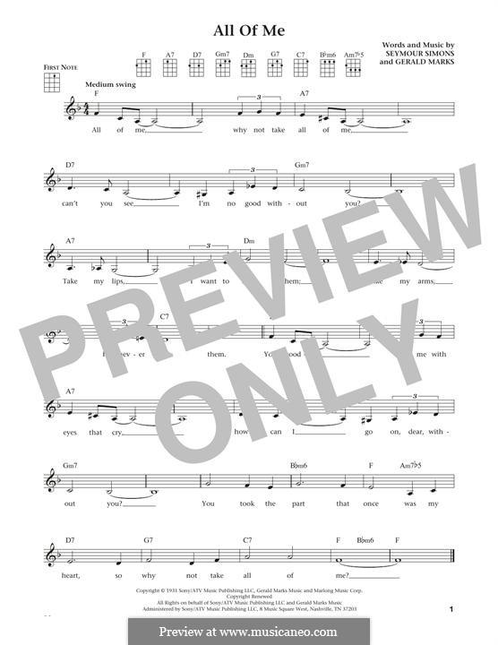 All of Me: para ukulele by Seymour Simons, Gerald Marks