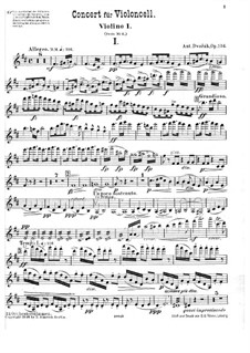 Concerto for Cello and Orchestra in B Minor, B.191 Op.104: violino parte I by Antonín Dvořák