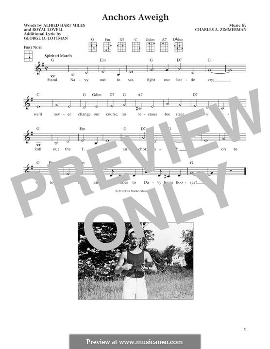 Anchors Aweigh (Alfred Hart Miles): para ukulele by Charles A. Zimmermann, George D. Lottman, Royal Lovell