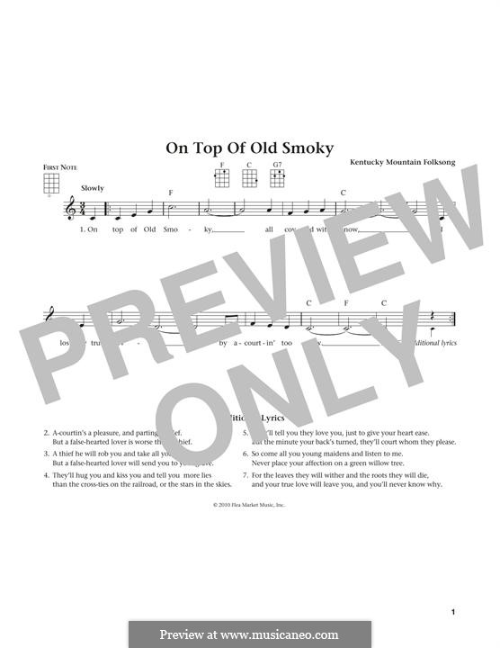 On Top of Old Smoky: para ukulele by folklore