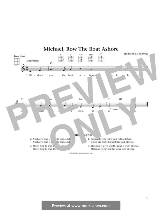 Michael Row the Boat Ashore: para ukulele by folklore