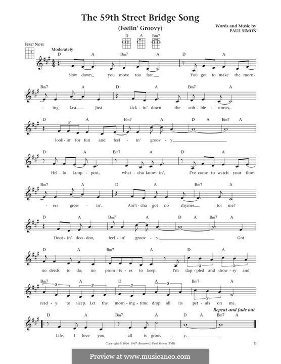 The 59th Street Bridge Song (Feelin' Groovy): para ukulele by Paul Simon