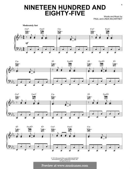 Nineteen Hundred and Eighty-Five: Para vocais e piano (ou Guitarra) by Linda McCartney, Paul McCartney