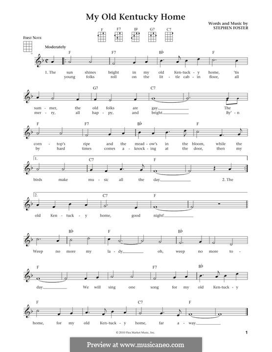My Old Kentucky Home Good-Night: para ukulele by Stephen Collins Foster