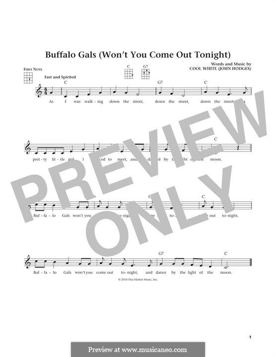 Buffalo Gals: para ukulele by John Hodges