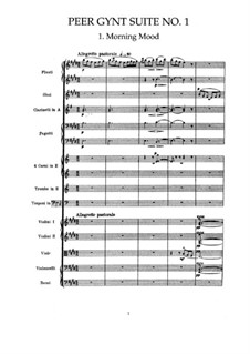 Suite No.1. Morning Mood, Op.46 No.1: Partitura completa by Edvard Grieg