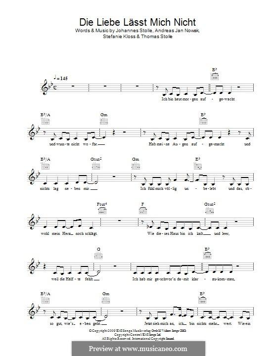 Die Liebe Lässt Mich Nicht (Silbermond): melodia by Johannes Stolle, Thomas Stolle, Andreas Jan Nowak, Stefanie Kloss
