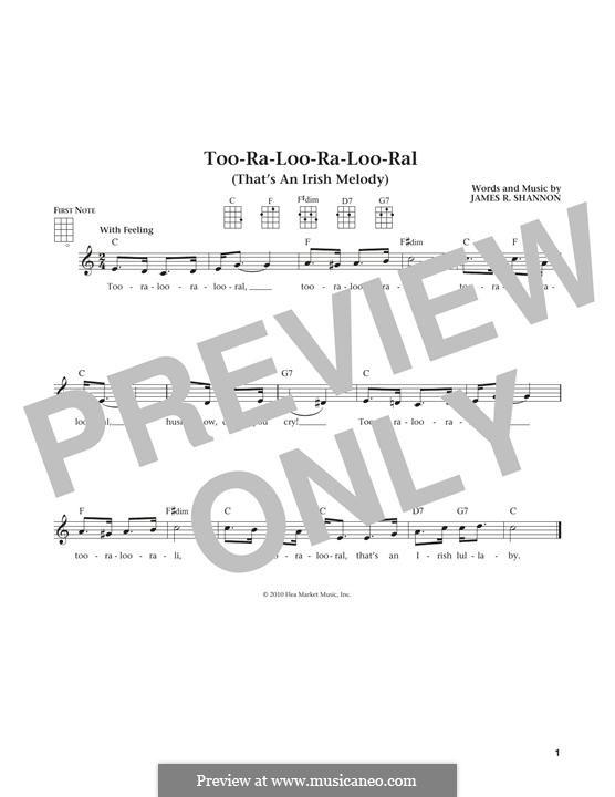 Too-Ra-Loo-Ra-Loo-Ral (That's an Irish Lullaby): para ukulele by James Royce Shannon