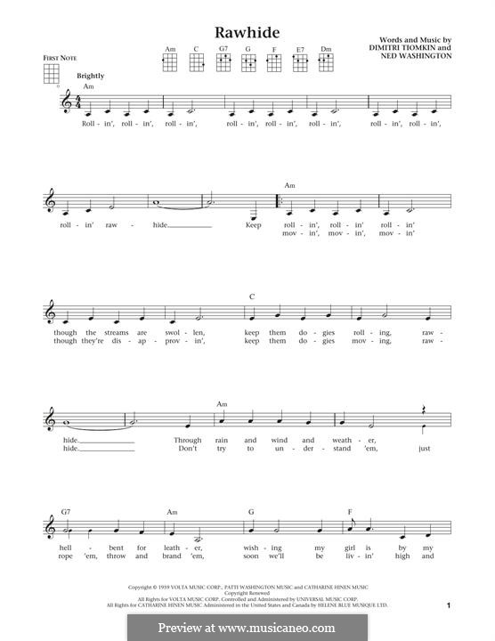 Rawhide (The Blues Brothers): para ukulele by Dimitri Tiomkin