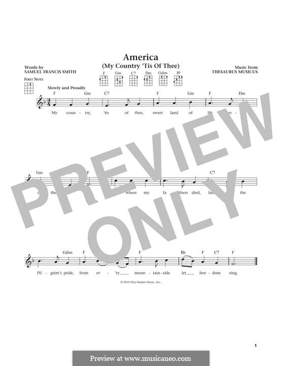 My Country, 'Tis of Thee (America): para ukulele by Thesaurus Musicus