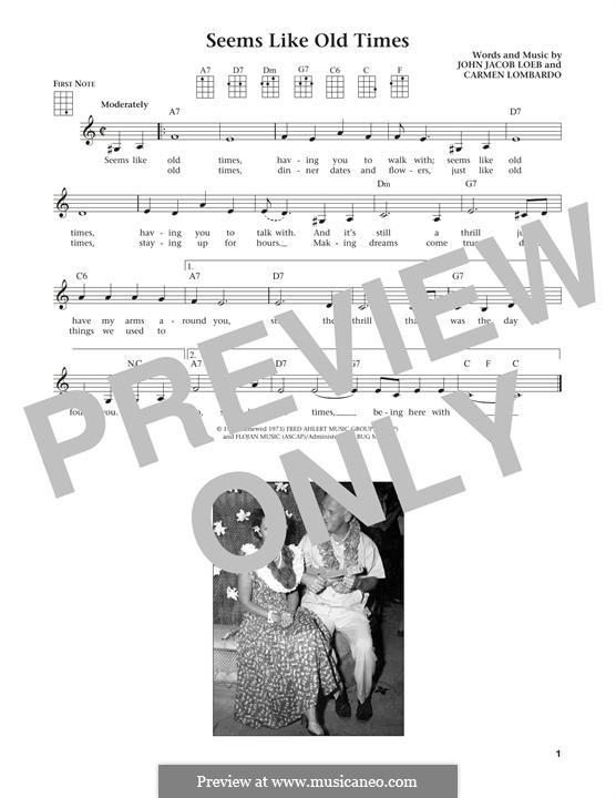 Seems Like Old Times: para ukulele by Guy Lombardo