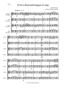 7 Songs of Glory for recorder quartet: O for a thousand tongues to sing by Robert Lowry, William Howard Doane, Charles Wesley, Jr., William Batchelder Bradbury, Charles Hutchinson Gabriel, Edwin Othello Excell, D. B. Towner