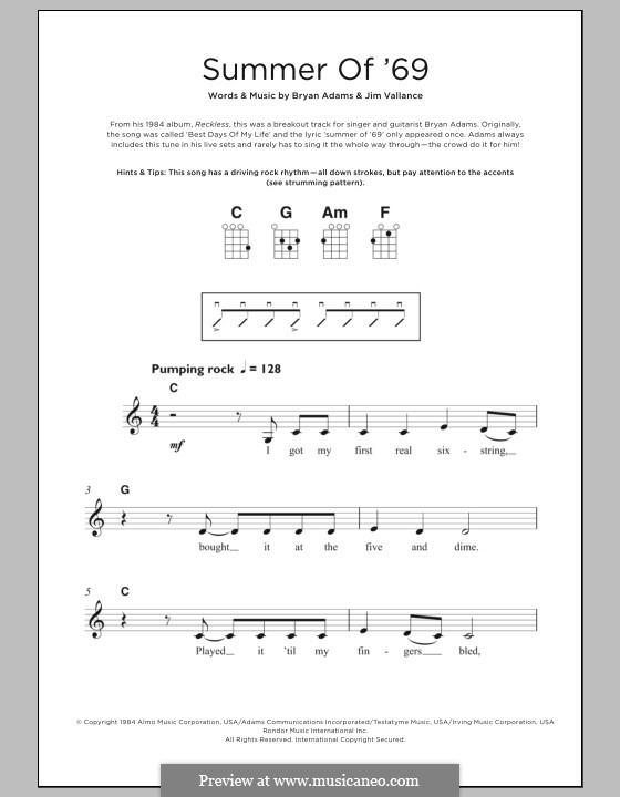 Summer of '69: para ukulele by Bryan Adams, Jim Vallance