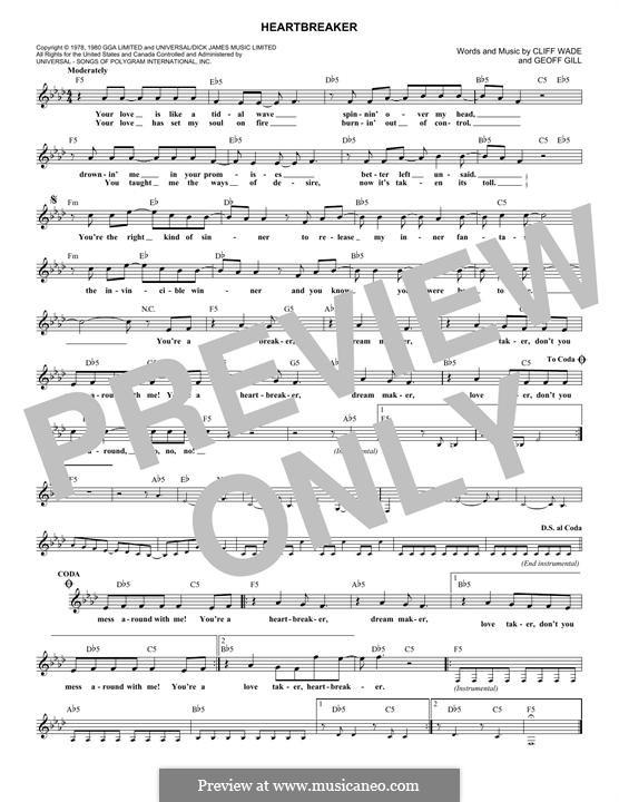 Heartbreaker (Pat Benatar): melodia by Cliff Wade, Geoff Gill