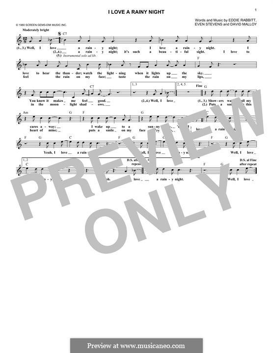 I Love a Rainy Night (Eddie Rabbitt): melodia by David Malloy, Even Stevens