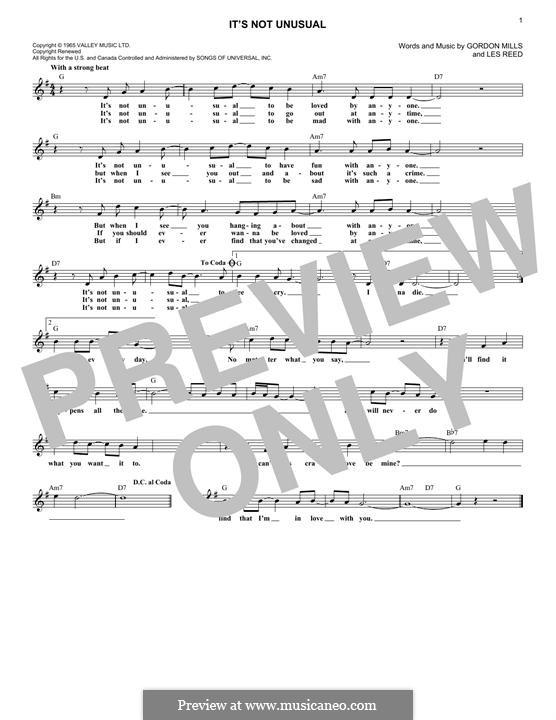 It's not Unusual (Tom Jones): melodia by Gordon Mills, Les Reed