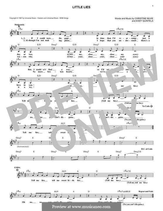 Little Lies (Fleetwood Mac): melodia by Christine McVie, Eddy Quintela