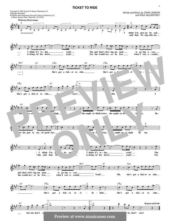 Ticket to Ride (The Beatles): melodia by John Lennon, Paul McCartney