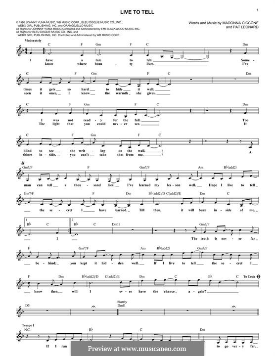 Live to Tell: melodia by Madonna, Patrick Leonard
