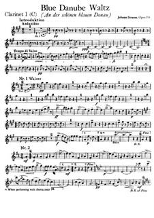 On the Beautiful Blue Danube, Op.314: Clarinet I in C part by Johann Strauss (Sohn)