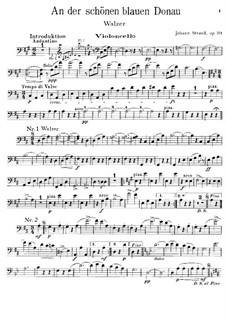On the Beautiful Blue Danube, Op.314: parte violoncelo by Johann Strauss (Sohn)
