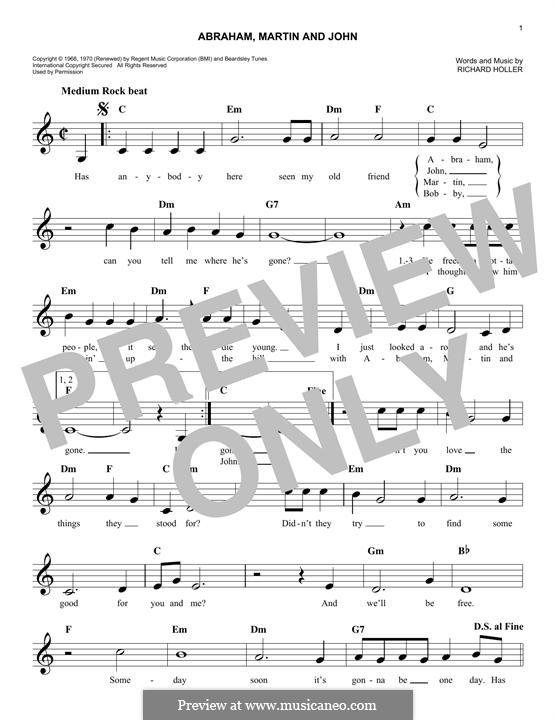 Abraham, Martin and John (Marvin Gaye): melodia by Dick Holler