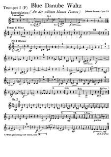 On the Beautiful Blue Danube, Op.314: Trumpet I in F part by Johann Strauss (Sohn)