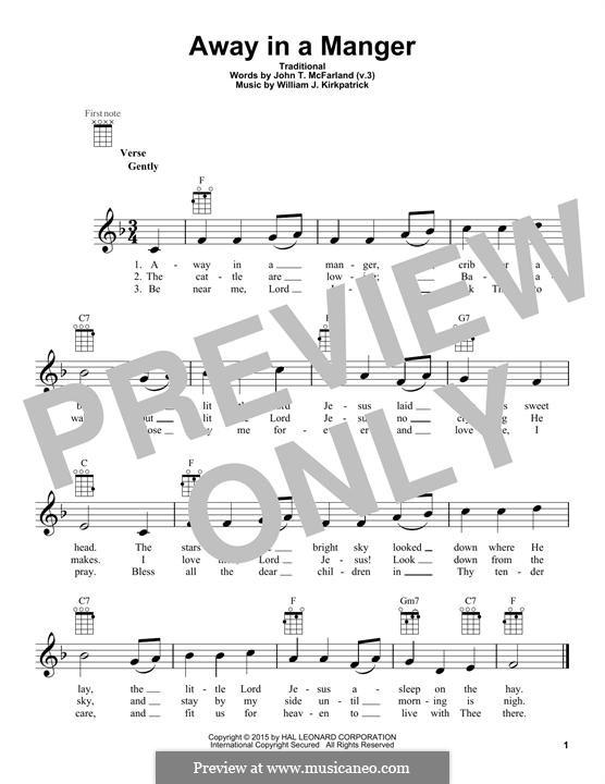 Away in a Manger: para ukulele by William (James) Kirkpatrick