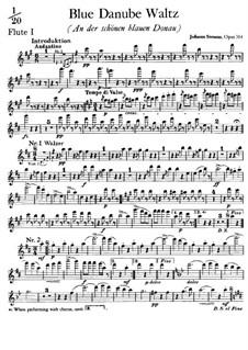 On the Beautiful Blue Danube, Op.314: flauta parte I by Johann Strauss (Sohn)