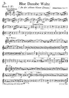 On the Beautiful Blue Danube, Op.314: trompa parte I by Johann Strauss (Sohn)