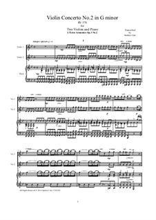 Concerto for Two Violins, Cello and Strings No.2 in G Minor, RV 578: Version for two violins and piano by Antonio Vivaldi
