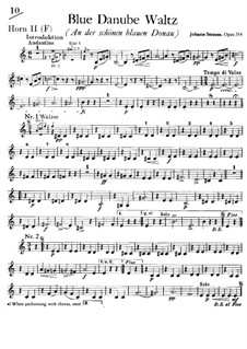 On the Beautiful Blue Danube, Op.314: trompa parte II by Johann Strauss (Sohn)