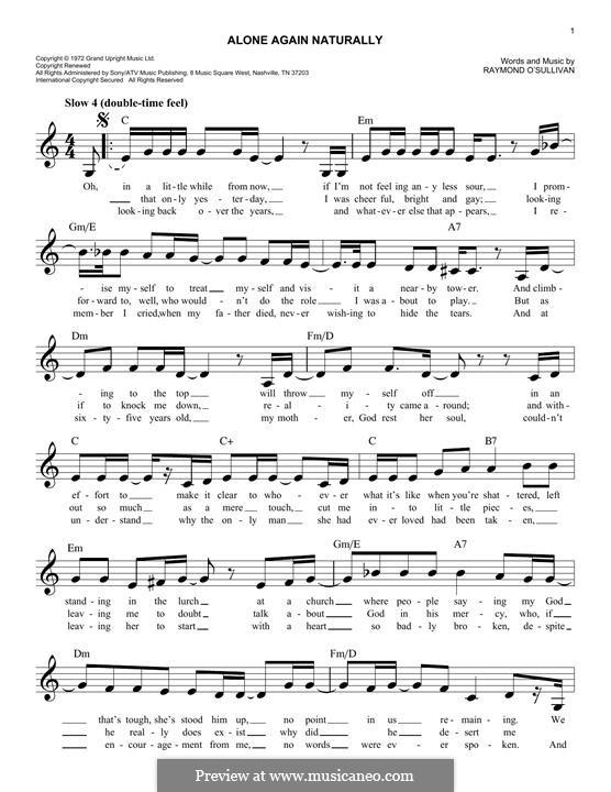Alone Again (Naturally): melodia by Gilbert O'Sullivan