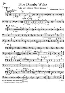 On the Beautiful Blue Danube, Op.314: Peça para Timpano by Johann Strauss (Sohn)