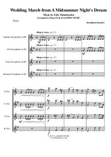 Wedding March: para quarteto de saxofone by Felix Mendelssohn-Bartholdy